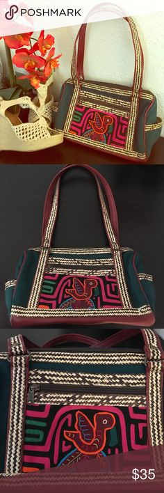 Handmade Colombian purse Beautifully detailed handmade Colombian purse. In good condition, inside has signs of use. Two side pockets. One zippered front pocket. Two small open pockets inside. Open to offers. Red bottom, green sides, and brown details. Bags