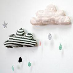 Hand made children's decorative febric cloud mobile / home decor mobile / cloud mobile on Etsy, $39.37 AUD