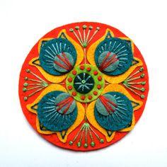 MARRAKECH felt brooch pin with freeform embroidery - scandinavian style. £15.00, via Etsy.