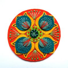MARRAKECH felt brooch pin with freeform embroidery - scandinavian style. £15.00, via Etsy.