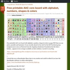 Free printable AAC core board with alphabet, numbers, shapes & colors Alphabet Board, Alphabet And Numbers, Angelman Syndrome, Communication Book, Brain Gym, Speech Language Pathology, Class Room, Special Needs Kids, Yoga For Kids
