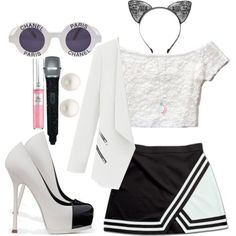 Cute black and white performing outfit<3 by loveclohthssomuch on Polyvore featuring polyvore, fashion, style, Hollister Co., Yves Saint Laurent, Reeds Jewelers, Tiffany & Co., Chanel, Lancôme and clothing