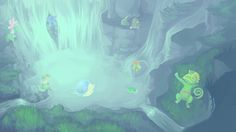Luminescent Waterfall by SoraAkihiru.deviantart.com on @deviantART (Kecleon, Cradily, Wooper, Gulpin, Turtwig, Lotad, Wailmer, Bellossom & Breloom)