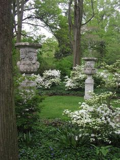 Urns in the shade garden with white shrubs
