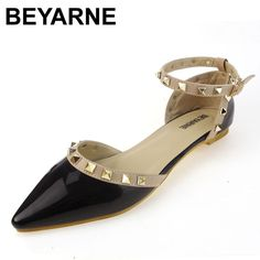Good price BEYARNE New rivet pointed toe women shoes patent leather gladiator flats sexy stud women ballet flat shoes latest flats 33-43 just only $18.80 with free shipping worldwide  #womenshoes Plese click on picture to see our special price for you