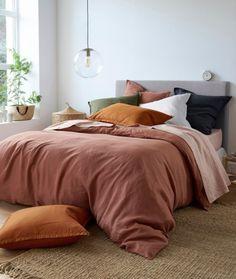 Housse de couette lin terracotta terre de sienne laredoute #bedroom