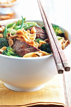 Spice up your beef and noodles with this delicious twist. Beef strips flavored with peanut sauce is added to noodles and broccoli.