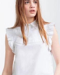 FRILLED POPLIN TOP-Blouses-TOPS-WOMAN | ZARA United States