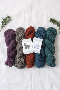alpaca lovers bundle / with the baedecker scarf knitting pattern, skeins of Owl Tweet, and an alpaca enamel pin by k2tog club / quince & co.