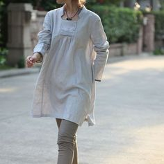 Babydoll Pleated Linen Long Blouse/ 19 COLORS/ any size/ by Ramies