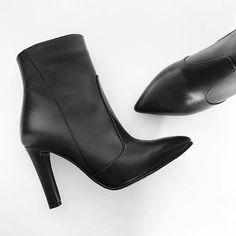 Botine din piele cu toc, pantofica.ro