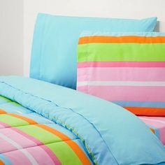 Extra-Long Twin Comforter, Malibu Stripe/Aqua by Campus Linens. $39.95. Reversible for two different looks. Extra-long twin super-soft comforter. Coordinating towels and sheets available.. Extra-long, extra-warm, two-looks-in-one!  This super-soft comforter is great for college dorm rooms.