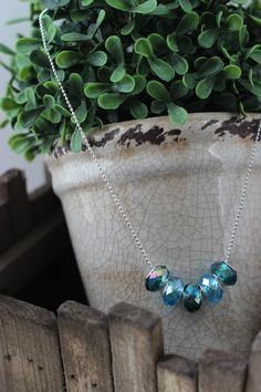 Crystalcut glass beads on a silver plated chain by chunkysquare, $22.00