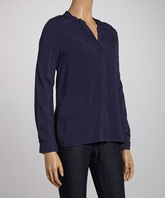 Take a look at this Indigo Button-Up Top by Antilia Femme on #zulily today!