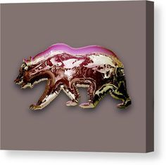 Bear Canvas Print featuring the mixed media Pink Bear by Marvin Blaine