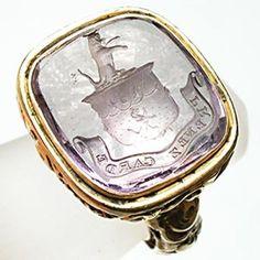Antique Amethyst Intaglio Seal Mens Ring Solid 14K Gold