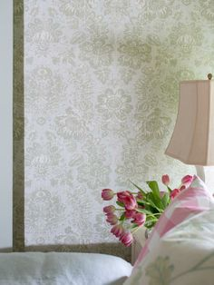 Wall upholstery is commonly used by designers to add pattern, texture and softness to a space. For a tailored look, add welt cord around the perimeter of upholstered walls. The welt will help frame the fabric and hide any pins which may peek through the top of attached fabric panels-->http://hg.tv/y7sa