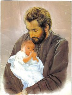 """JOSEPH FATHER OF JESUS: God entrusted this """"just"""" man to look after His only begotten Son, Jesus, and raise Him through the wisdom of his Jewish upbringing. As a parent and father, Saint Joseph is a wonderful blessing to my family! Catholic Prayers, Catholic Art, Catholic Saints, Patron Saints, Religious Pictures, Jesus Pictures, San Jose, St Joseph Novena, Jesus Childhood"""