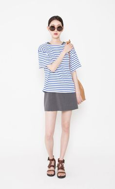 blue and white striped shirt, grey miniskirt (dress), sandals