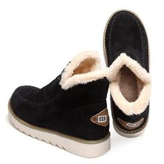 6276d59469 Solid Color Warm Fur Lining Winter Ankle Snow Boots Short Winter Boots