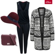 Check out 1 cardigan - 3 styles #hat #style #outfit #jumpsuit #overall #black #soliver