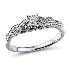 Diamond Classic Jewelry Diamond Engagement Ring Rhodium Plated 10k White Gold 1/4 cttw (HI, I2-I3)