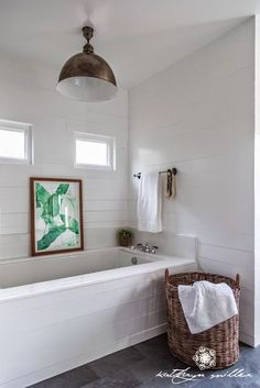 Get inspired by Scandinavian Bathroom Design photo by Kathryn Miller Interiors & Design. Wayfair lets you find the designer products in the photo and get ideas from thousands of other Scandinavian Bathroom Design photos. Lavender Bathroom, White Bathroom, Bathroom Interior, Small Bathroom, Master Bathroom, Bathroom Ideas, Bathroom Tiling, Cozy Bathroom, Bathroom Hacks