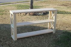 This inexpensive DIY console table will make you want to build your own instead of buy. It's easy enough for woodworking newbies and the supply list is short. Diy Sofa Table, Sofa Tables, Entryway Tables, Console Tables, Foyer, Diy Entryway Table, Farmhouse Entryway Table, Rustic Buffet, Farmhouse Tv Stand