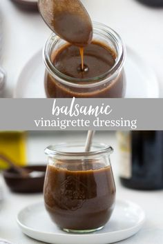 Balsamic Vinaigrette Dressing is a sweet, tangy balsamic dressing recipe made in minutes with only 5 ingredients. You'll never buy store bought again! #saladdressing #balsamicdressing #saladdressingrecipes