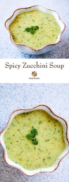 Spicy Zucchini Soup ~ Fresh and summery spicy zucchini soup with zucchini, onion, jalapeño, bread, mint and cilantro. ~ SimplyRecipes.com