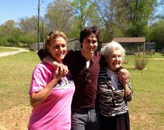 """You never know who you'll run into at Noah's Ark! Ian Somerhalder with Noah's Ark founder & director, Jama Hedgecoth & Louella """"Grandma"""" Conner! Ian is a very loving, amazing person with a huge capacity for compassion for animals and children that is very much in tune with all that Noah's Ark is about. We hope to partner together in the near future and offer some programs for children. Stay tuned! #iansomerhalder"""