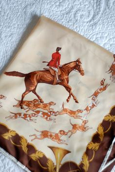 1950s equestrian hunting neckerchief by the pretty secrets on etsy
