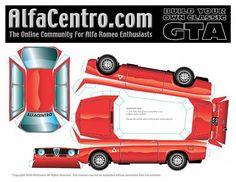 Cut-Fold and Glue-papercraft model-cut-out-Alfa Romeo Paper Model Car, Paper Car, Paper Models, Alfa Gta, Alfa Romeo Gta, Cars Series, Wooden Car, Junior, Jumping Jacks