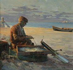 """Fisherman on the Baltic"". Painting of Henryk Baranowski"