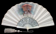 French Carved Ivory Wedding Fan by Voisin, Paris - Date: ca. 1865-1875