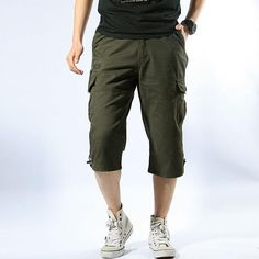 ca63a217ab Summer Men's Baggy Multi Pocket Military Zipper Cargo Short Hot breeches  Male Long Army Green Khaki