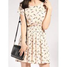 Tiny Bird Print Casual Dress
