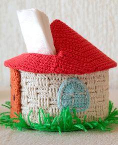 Crochet holder for paper napkins Lovely house. Tissue Box Covers, Tissue Boxes, Crochet Home, Knit Crochet, Loo Roll Holders, Crochet Storage, Crochet Backpack, Paper Cover, Crochet Animals
