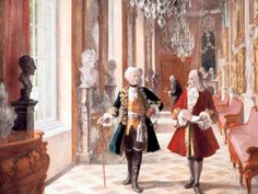 Voltaire and Frederick II of Prussia in Sanssouci (detail) - c. 1900