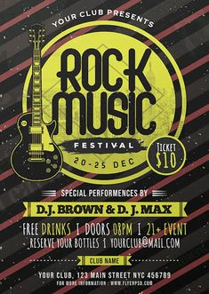 Download the Free Rock Music Festival Flyer PSD Template! - Free Club Flyer, Free Flyer Templates, Free Indie Rock Flyer, Free Party Flyer - #FreeClubFlyer, #FreeFlyerTemplates, #FreeIndieRockFlyer, #FreePartyFlyer - #Club, #Festival, #Indie, #Music, #Night, #Nightclub, #Party, #Rock