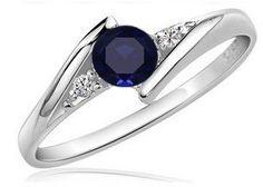 anillo compromiso oro blanco 10k, zafiro y diamante natural
