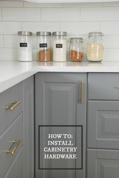 DIY guide on how to install kitchen cabinetry hardware - via the sweetest digs
