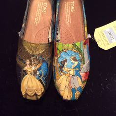Beauty and the Beast TOMS by NeverNeverShoes on Etsy<<< I need these but from the new movie because 1) it's WAY better 2) who wouldn't want Dan Stevens on your feet??!!
