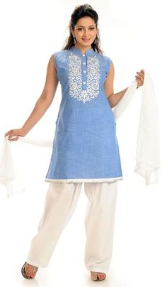 G3 Fashions Sky Blue White Cotton Party Wear Designer Salwar Suit  Product Code : G3-LSA104678 Price : INR RS 3238