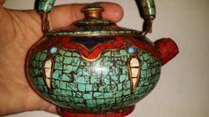 stará smaltovaná mozaiková konvička na čaj!!!!!