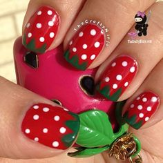 Cute Strawberry Nails~ So cute! For my personal taste, I would do just one nail...but, I love this!