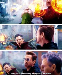 "Tony and Bruce in ""Avengers: Infinity War"" Marvel Avengers, Funny Marvel Memes, Avengers Memes, Marvel Jokes, Marvel Dc Comics, Marvel Heroes, Avengers Imagines, Captain Marvel, Captain America"