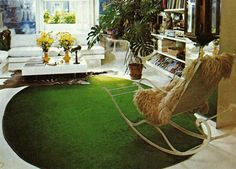 Living room design from The House Book by Terence Conran, 1976 Terence Conran, Outdoor Furniture, Outdoor Decor, Rocking Chair, Hammock, Shag Rug, Living Room Designs, Vintage Designs, The Past