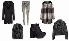 H&M divided grey winter collection 2013 knits leather black