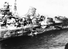 Mogami during the Battle of Midway, showing damage, Jun 1942; photo was taken by a US Navy pilot
